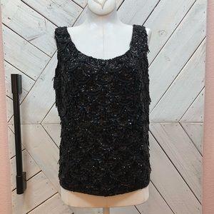 Vintage Wool Intricate Beaded Sequins Top